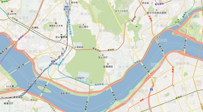 The above image shows a map of Seoul from the API developed by SNBSOFT. It shows highly accurate simplified Chinese translations for locations around central Seoul.