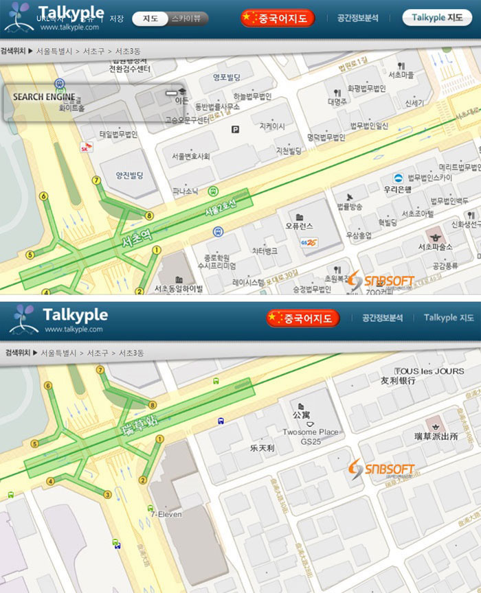 The above image shows a map of part of Seoul's subway system written in Korean from the Talkyple website. The second image shows all the information written in simplified Chinese, after users press the red 'Chinese map' button at the top of the browser.